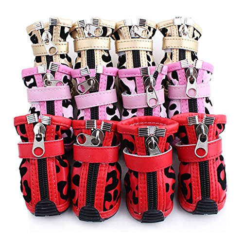 Generic Set of 4pcs Golden Leopard Style PU Leather Shoes Boots for Pet Dogs Size 5#