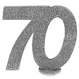 cama24com XXL Tischdeko Zahl 70 Geburtstag Silber Glitzer 1 Stück Party-Deko Palandi®