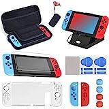 16 en 1 Kit de Accesorios para Nintendo Switch, Funda para Nintendo Switch con 10 Cartucho de Juego | Carcasa de Silicona y P