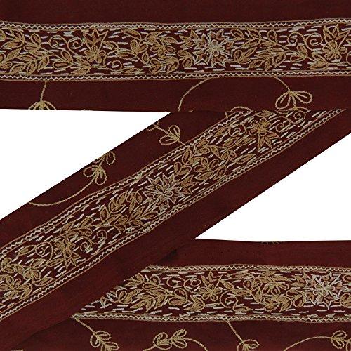 Gestickte Weinlese Indian Craft Sarong Border Maroon Gebrauchte Sewing Sari 1YD Spitze -