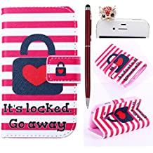 Felfy Love Heart Lock Stripes PU Cuero Billetera Funda Flip Carcasa Para Samsung Galaxy S3 mini i8190 + 1x Rojo Búho Enchufe del Polvo + 1x Rojo Lápiz Táctil