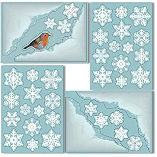 ArtiClings 4 Snow Corners with Robin and 36 Snowflake Window Clings - Non-Adhesive Vinyl Stickers - Superb Christmas Decorations!