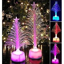hkfv único creativo encantador maravilloso diseño de árboles de Navidad iluminación LED caliente feliz LED cambia de color Mini mesa de Navidad árbol de Navidad Home Party Decor colgante mejor para crear ambiente navideño, plástico abs, Blanco, 12cm x 7cm