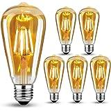 Lot de 6 ampoules Edison vintage E27 LED à incandescence, 4 W (remplace 40 W), ampoule rétro idéale pour éclairage nostalgiqu