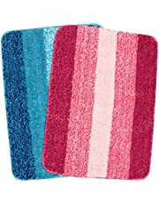 Saral Home Microfiber Bath Mat (35x50cm, Turquoise) - Pack of 2