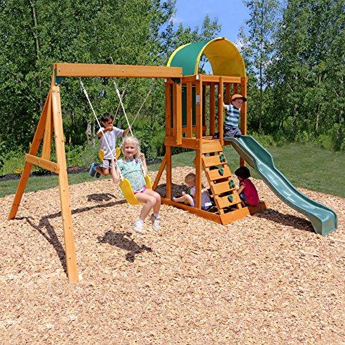KidKraft 400 Ainsley Outdoor Klettergerüst aus Holz für Kinder mit Rutsche, Schaukeln, Kletterwand und Sandkasten