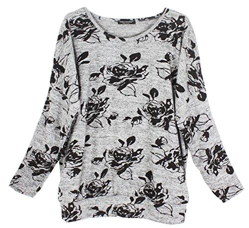 Emma & Giovanni - Pullover - T-shirt Loose Fit Mit Druck- Damen Grau