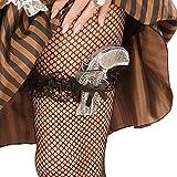 Amakando Retro Strapsband Rüschenstrumpfband Pistolenhalter Mini Western Pistolenhalfter Can Can Strumpfhalter Piratin Kostüm Accessoire Steampunk Strumpfband mit Pistole