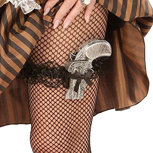 Retro Strapsband Rüschenstrumpfband Pistolenhalter Mini Western Pistolenhalfter Can Can Strumpfhalter Piratin Kostüm Accessoire Steampunk Strumpfband mit Pistole