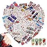 48 Feuilles Nail Art Stickers Decals,MWOOT Christmas Autocollants de Transfert à Eau D'Ongles Décalcomanies Pour Noël Autocollants à Ongles Conseils Décorations