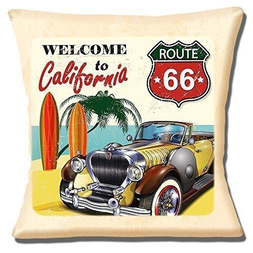 """California de la ruta 66de coche clásico de tablas de surf playa-16""""(40cm) almohada cojín"""