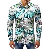Hombre Moda Impreso Blusa Casual Manga Larga Camisas Delgadas Tops