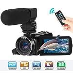 Camcorder Videokamera FHD 1080P 24MP 3''LCD-Touchscreen IR Nachtsicht Digitalkamera 16X-Digitalzoom YouTube Vlogging...