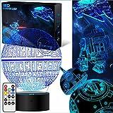 Star Wars Geschenke 3D Lampe für Männer - Star Wars Spielzeug Nachtlicht für Kinder,7 Farbwechsel mit Fernbedienung oder Touch, Dekorieren Kinds Bedroom. 2019 (4 Packs-Bigger-Heller)