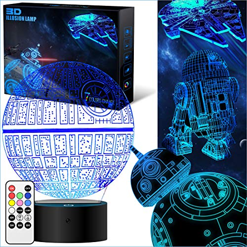 Star Wars Geschenke 3D Lampe für Männer - Star Wars Spielzeug Nachtlicht für Kinder,7 Farbwechsel mit Fernbedienung oder Touch, Dekorieren Kinds Bedroom. 2019 (4 Packs-Bigger-Heller) (Death Star 3d-puzzle)