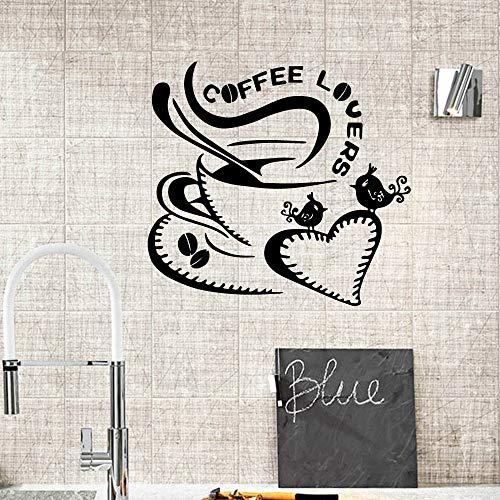 yiyiyaya Kaffee Wandaufkleber Personalisierte Wandbilder Kreative Für Küche Decor Coffee Shop Dekoration Vinyl Wandtattoos 58X62 cm