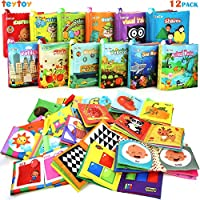 My First Soft Book,TEYTOY Nontoxic Fabric Baby Cloth Activity Crinkle Soft Books for Infants Boys and Girls Early Educational Toys Baby Shower Gift(12pcs)