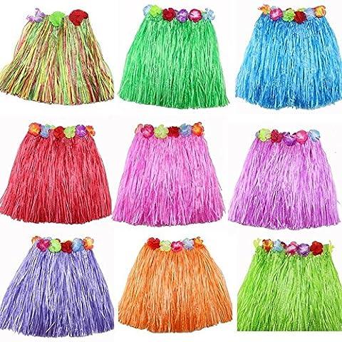 sevenmye 9Stück Multicolor Elastic Hawaiian Seide Faux Blumen Hula Gras Rock Party Beach Dance Kleid