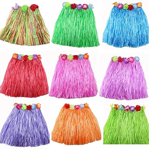 sevenmye 9 Stück Multicolor Elastic Hawaiian Seide Faux Blumen Hula Gras Rock Party Beach Dance Kleid