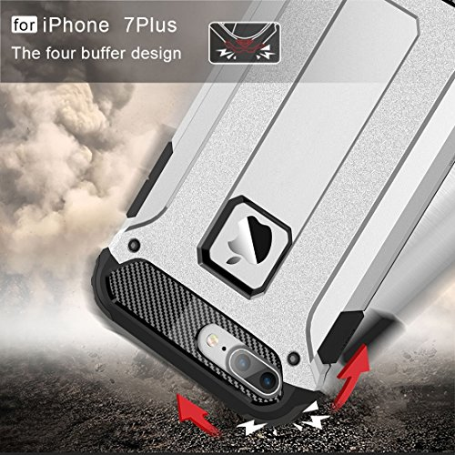 Hülle für iPhone 7 plus , Schutzhülle Für iPhone 7 Plus Tough Armor TPU + PC Kombi-Gehäuse ,hülle für iPhone 7 plus , case for iphone 7 plus ( Color : Dark Blue ) Silver