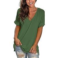 Ycloud T-Shirt Donna Scollo a V Estate, T-Shirt Basic Classica Scollo a V Tinta Unita Tessuto di Alta qualità