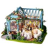 JUZIHOUSE Kit de Meubles en Bois Bricolage Mini Dollhouse, Kit de Construction en Bois Puzzle-modèle de Construction de Maison en Bois Mini Maison Bricolage Cottage House Bricolage Cadeau
