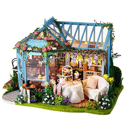 BJZP DIY Mini Puppenhaus Holzmöbel Kit, DIY Cottage Mini Haus Holzhandwerk Baukasten-3D Holz Puzzle-Modell Baukasten DIY Kabine Holzvilla Geschenk für Weihnachten Urlaub Geburtstag -