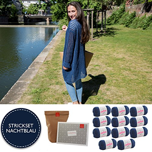 MyOma Strickset Strickjacke * DIY Jacke Cotê d'Azure * Strickpackung mit 11 Knäuel Cotton pure nachtblau (Fb 127) Wolle zum Stricken – Wolle + Strickanleitung + GRATIS Label – Strick-Set (Stricken Wolle Strickjacke)