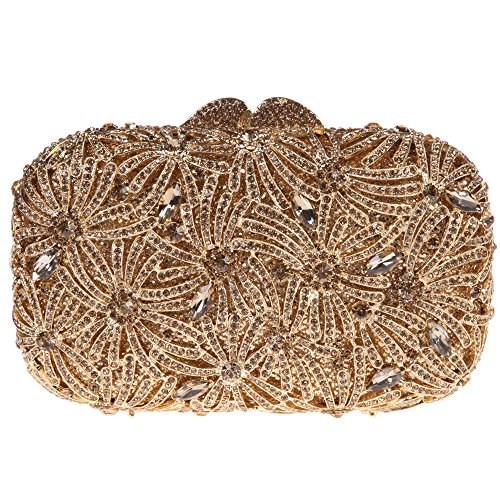 Bonjanvye Bling Studded Rhinestone Fireworks Crystal Clutch Bag for Evening Party Gold Smoky yellow