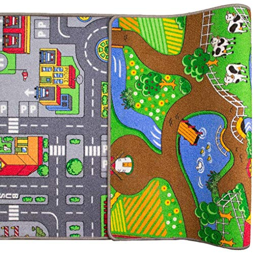 The Rug House pour Enfant Double Face Play Village Ferme Tapis de Ville City Car Routes Tapis