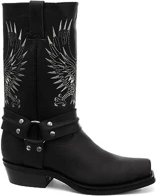 Grinders Bald Eagle Damen Cowboy Stiefel, Schwarz: