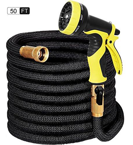 15m Flexibler Gartenschlauch FlexiSchlauch Wasserschlauch Schlauch Dünn Druckfest Leicht Platzsparend für Bewässerung Gartenarbeit Autowäsche Reinigung (15m schwarz)