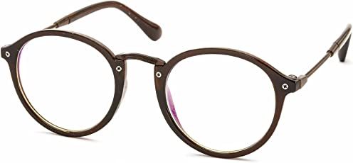 Stacle Unisex Composite Anti-Reflective Round Spectacle Sunglasses(ST8008|Brown Frame|Transparent Lens)