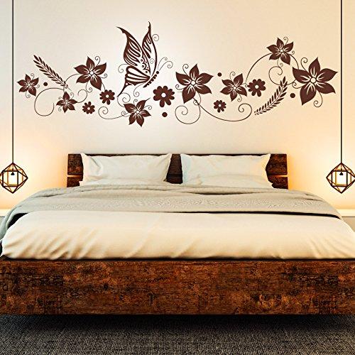 Wandtattoo Blumen Ranke & Schmetterlinge | Floral Schlafzimmer Deko Idee Wandsticker Braun 800 145 x 48 cm (Hibiscus Blume Decal)