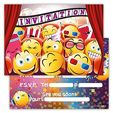 Funny Birthday Invitations Pack of 12 for Boys Girls Kids Movie Cinema Party with Smiley Emoji Postcard Cards