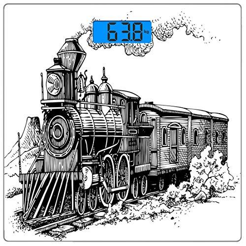 Digitale Präzisionswaage für das Körpergewicht Platz Dampfmaschine Ultra dünne ausgeglichenes Glas-Badezimmerwaage-genaue Gewichts-Maße,Rustikaler alter Zug in der Land-Lokomotiven-hölzernen Lastwagen
