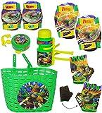 alles-meine.de GmbH 9 TLG. Set _ Fahrradzubehör -  Teenage Mutant Hero Turtles  - Fahrradkorb & Fahrradtrinkflasche & Fahrradklingel & Fahrradhandschuhe & Schützer - Korb mit B..