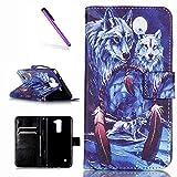 EMAXELERS LG Stylus 2 Hülle PU Leder Brieftasche Hülle Schutzhülle Tasche Ledertasche Kartenfach Flip Cover Wallet Case für LG Stylus 2 LS775/LG G Stylo 2 K520,Blue Wolf Moon