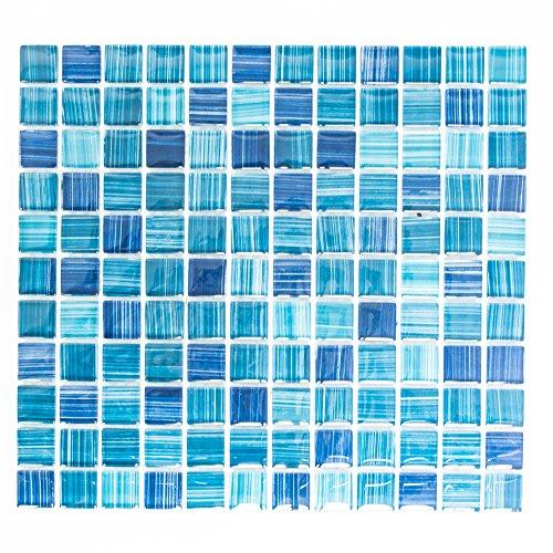 n Mosaik Küche Bad WC Wohnbereich Fliesenspiegel Quadrat Crystal blau 8 mm Neu #K764A ()