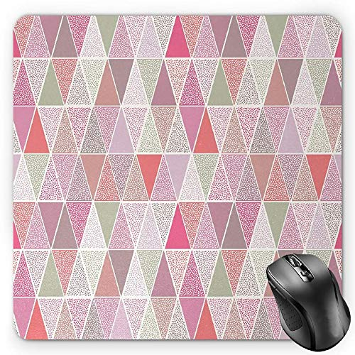 BGLKCS Peach Mauspads Mouse Pad, Colorful Geometric Design Triangles with Polka Dots Octagon Shape Pattern Triangular, Standard Size Rectangle Non-Slip Rubber Mousepad, Multicolor Octagon Dot