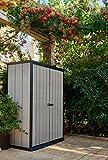 Keter Geräteschrank, wetterfest, Geräteschrank für den Garten, High Store, Grau
