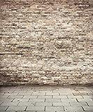 8x10 ft Brown Brick Wall Interior Photo Backdrop Grey Floor Indoor Vintage Photography Studio Background