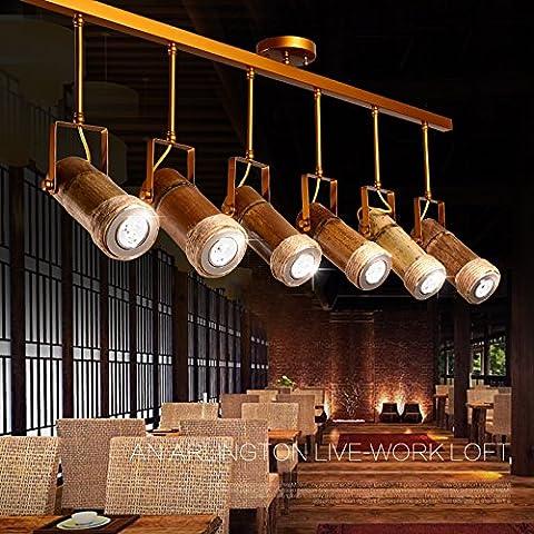 ZSQ retrò pendente corda luce L spago luce pendente lampadario e personalità di ferro industriale lampadario stile Bambù testa di lampadina #72 - Mason Spago