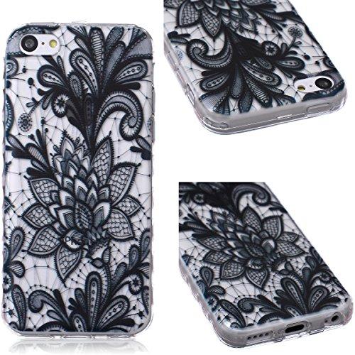 GrandEver TPU Cover per iPhone 5C, UltraSlim Trasparente Morbido Gel Silicone Custodia Flexible Soft Protettivo Anti-graffio Case Copertura Disegno Bella - Black Rose