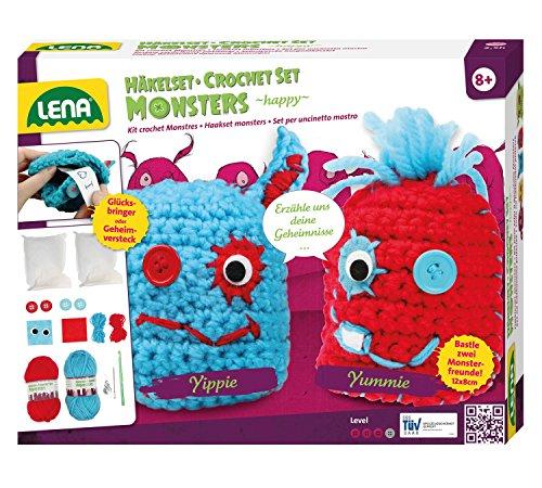Lena 42522 - Häkelset Happy Monsters, Komplettset zum Häkeln von 2 Glücksbringern mit Häkelnadel, Nähnadel, Wolle, Garne, Filzmaterial, Knöpfe und Watte zum Füllen, Bastelset für Kinder ab 8 Jahre