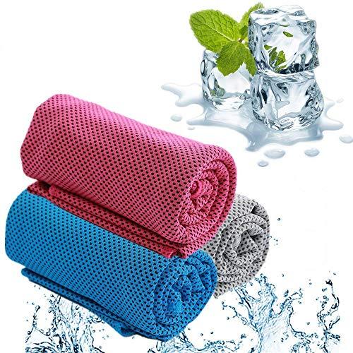 Handtücher 3er Pack Kühltuch-100 x 30 cm Sporthandtuch für Draußen Fitness Übung Laufen Golf Yoga Sommer Turnhandtuch (B/G/P)