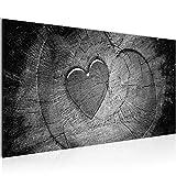 Bilder Herz Holzoptik Wandbild 100 x 40 cm Vlies - Leinwand Bild XXL Format Wandbilder Wohnzimmer Wohnung Deko Kunstdrucke Schwarz Weiß 1 Teilig - MADE IN GERMANY - Fertig zum Aufhängen 502112c