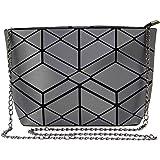 Hot One Geometrische Umhängetasche Kette Umhängetaschen für Damen, Damenhandtaschen (#10 Metallisch Grau)