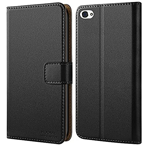 iPhone 4 Hülle, iPhone 4S Hülle, HOOMIL Handyhülle iPhone 4 Tasche Leder Flip Case Brieftasche Etui Schutzhülle für Apple iPhone 4 / 4S Cover - Schwarz