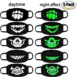 Mouth Mask, Fancigirl 5Pcs Mouth Cover Luminous Skull Anti Dust Masques De Bouche De Coton Pour Halloween